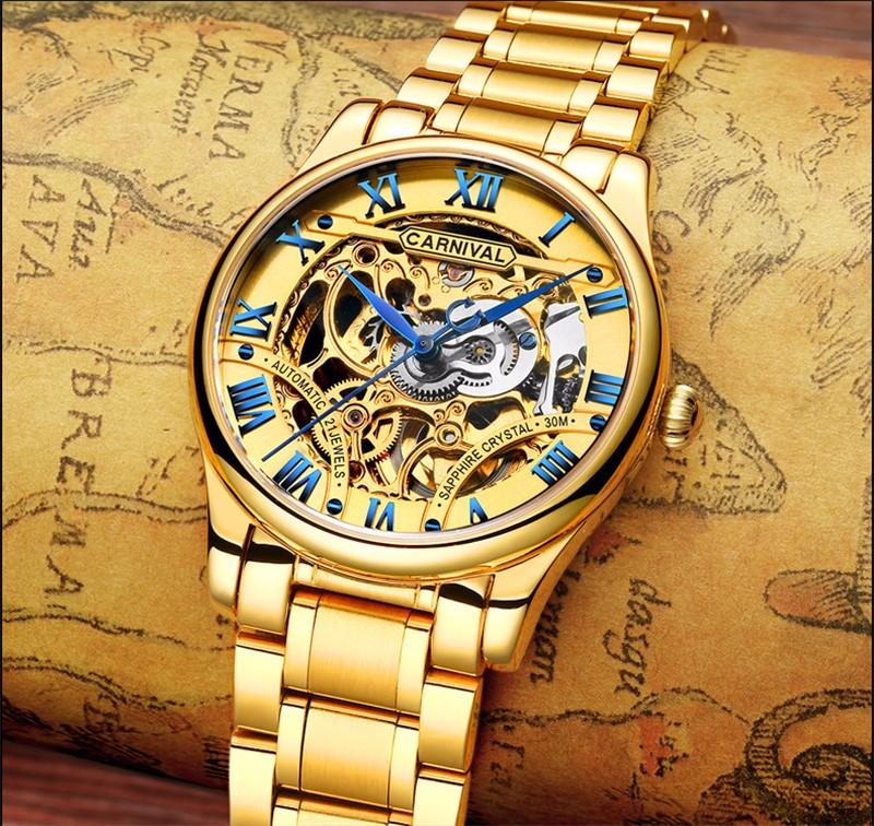 đồng hồ vàng skeleton