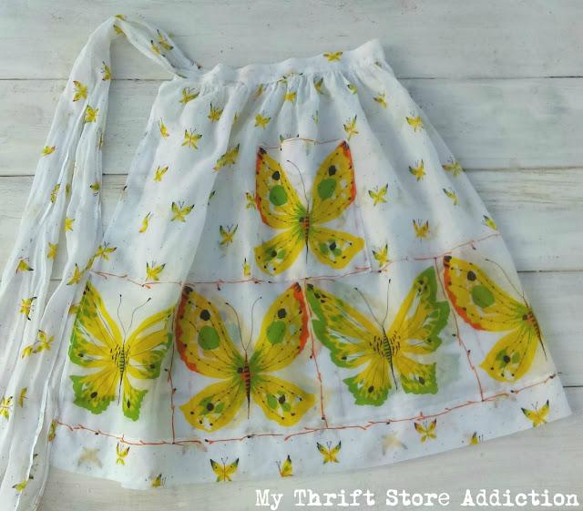 retro butterfly vintage apron