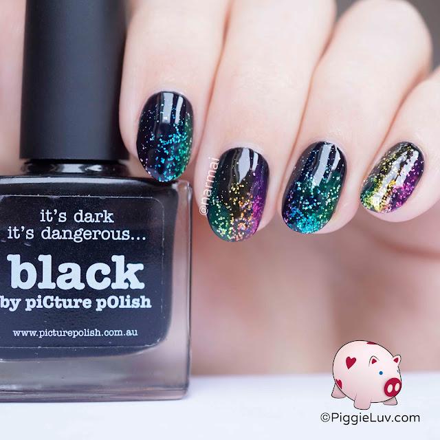 piggieluv  scattered rainbow glitter nail art