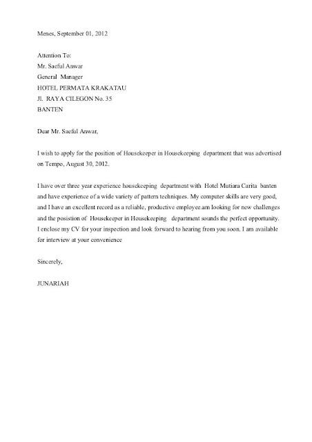 Contoh Surat Lamaran Kerja Hotel Bagian Housekeeping Bahasa Indonesia