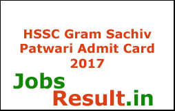 HSSC Gram Sachiv Patwari Admit Card 2017