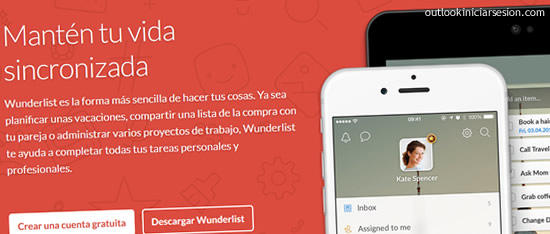 Wunderlist para outlook iniciar sesion