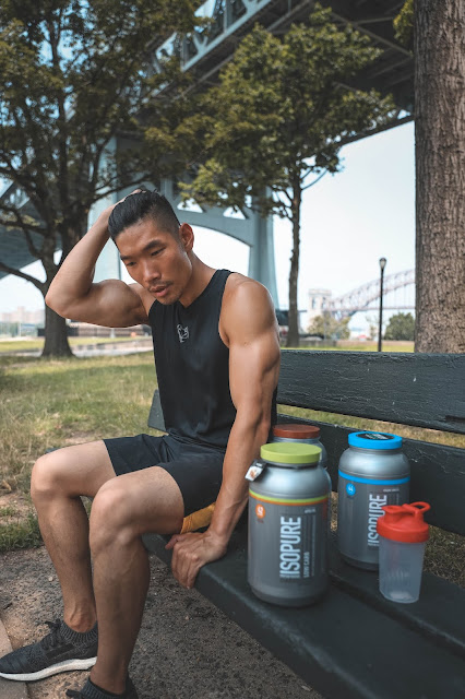 Leo Chan working out with Isopure Apple Pie and Vanilla Protein | Asian Male Model