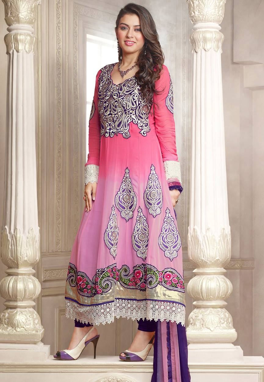 Hansika Photoshoot Photos In Pink Colour Salwar Kameez