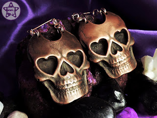 Copper & Rose Gold Heart Skull Ear Weights / Hangies