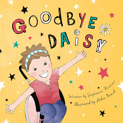 front cover of the book Goodbye Daisy showing a picture of daisy smiling while sat in her wheelchair with her arms outstretched
