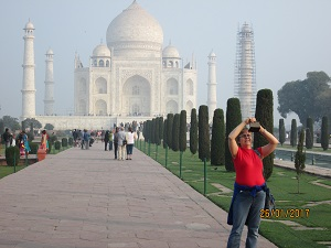 Photo of Author with Taj Mahal in Background