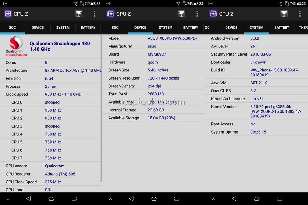 CPU-Z Asus Zenfone Max M1 ZB555KL