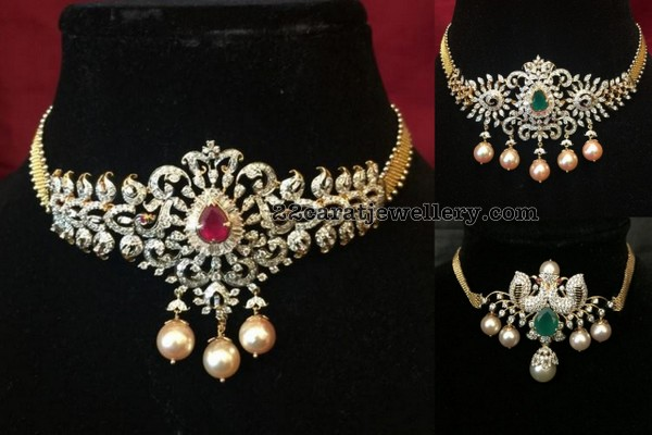 4a903155318bf 2 in 1 Diamond Chokers by Shree jewellers - Jewellery Designs