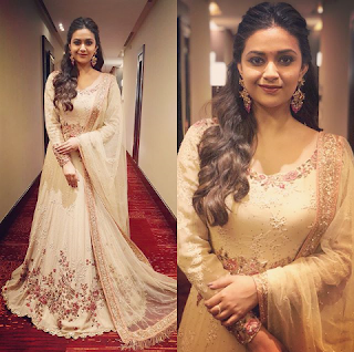 Keerthy Suresh in White Dress with Cute Smile at the Launch of AVR Jewellers Stores in Bengaluru