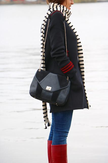 manteau marin écharpe sessun sézane sac