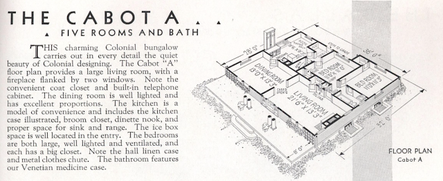 Gordon-Van Tine Cabot catalog image of floor plan, layout A