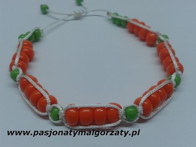koraliki pomarańczowe toho, bransoletka pleciona, makrama