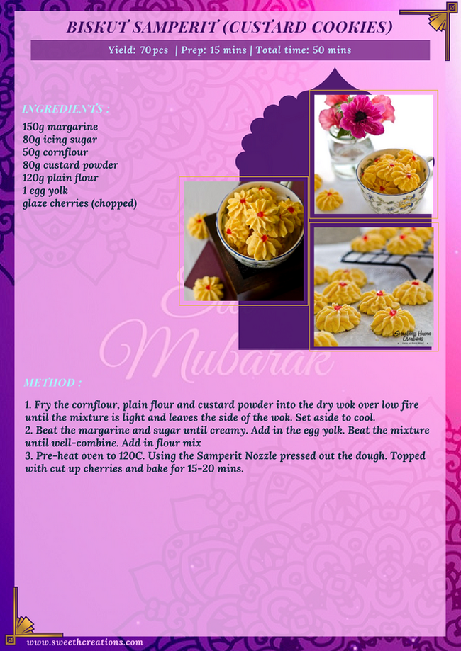 BISKUT SAMPERIT (CUSTARD COOKIES) RECIPE