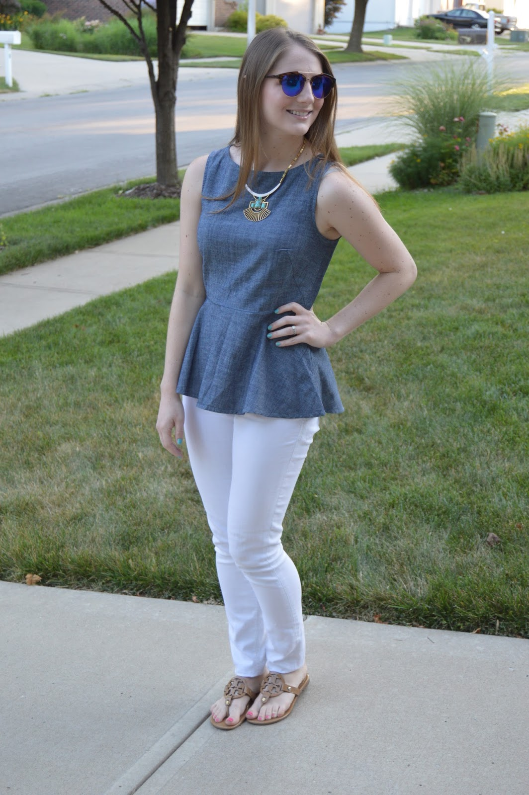 white jeans outfit ideas for summer | summer outfit ideas | what to wear this summer | summer style | chambray peplum top | what to wear with a chambray top | kansas city fashion blog | a memory of us |