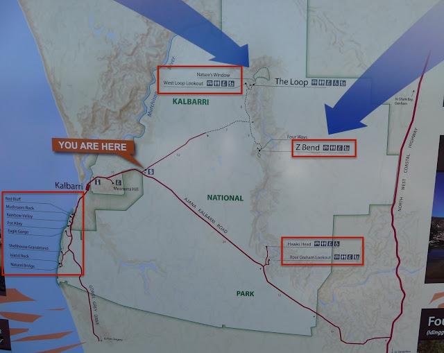 Kalbarri national Park map and main highlights