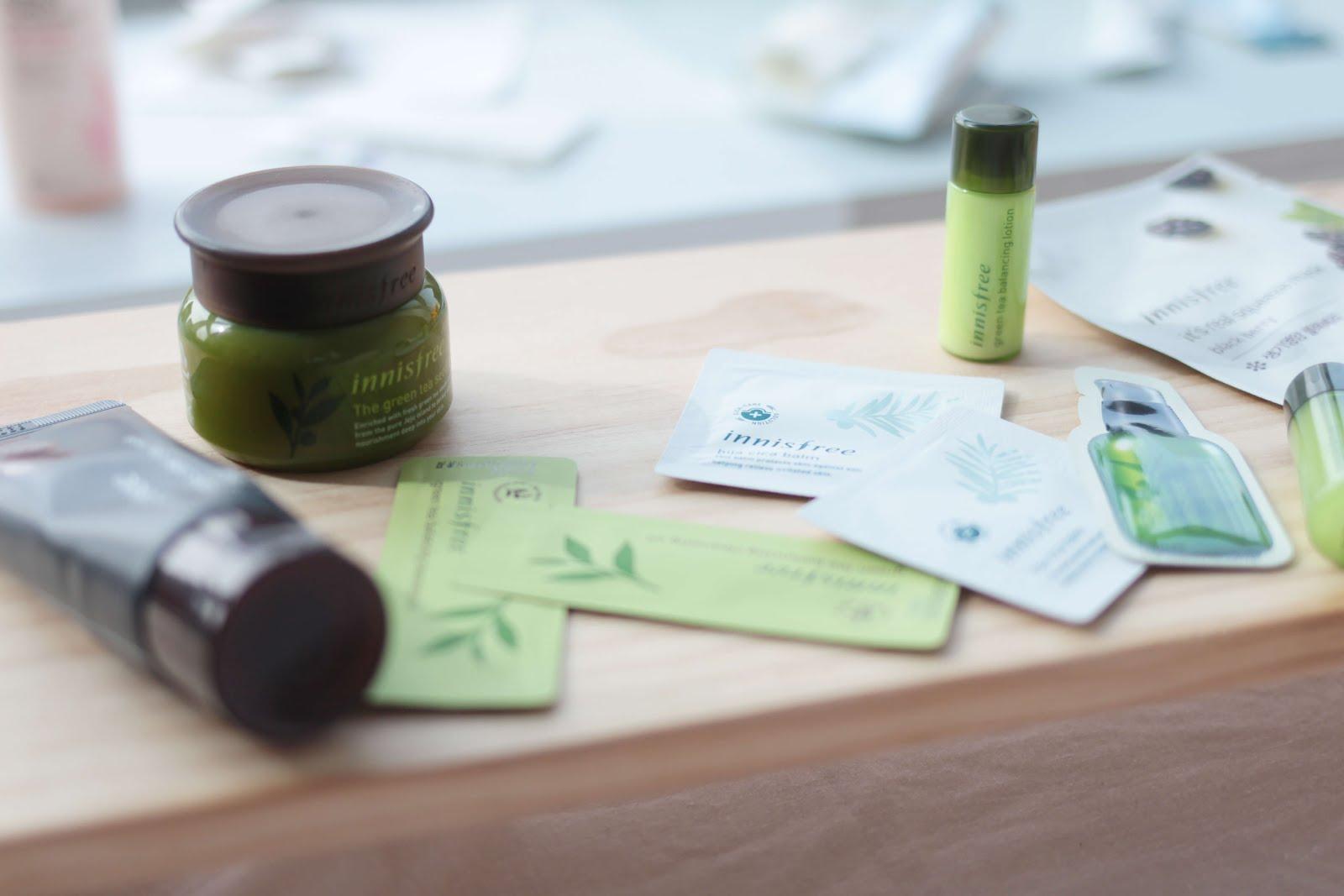 innisfree skincare haul kbeauty blogger green tea seed range