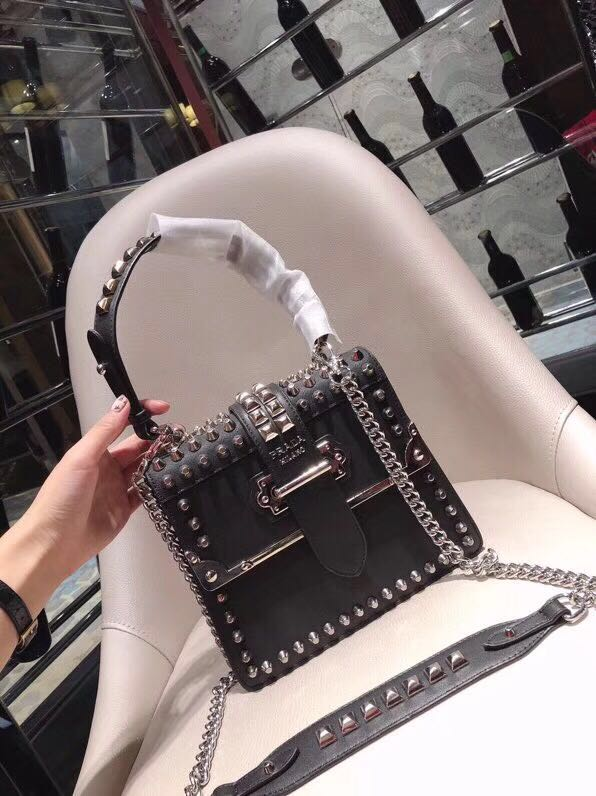3797f1f24bfa PRADA Handbag Luxury Cahier Studded Leather Chain Sling Bag with Top Handle