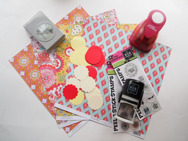 Supplies for a Summer Fun Wreath using PSA Essentials Stamps!