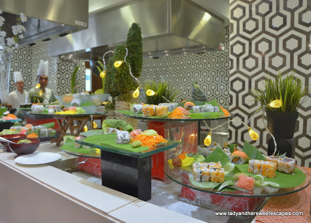 Japanese rolls at Fairmont Ajman brunch