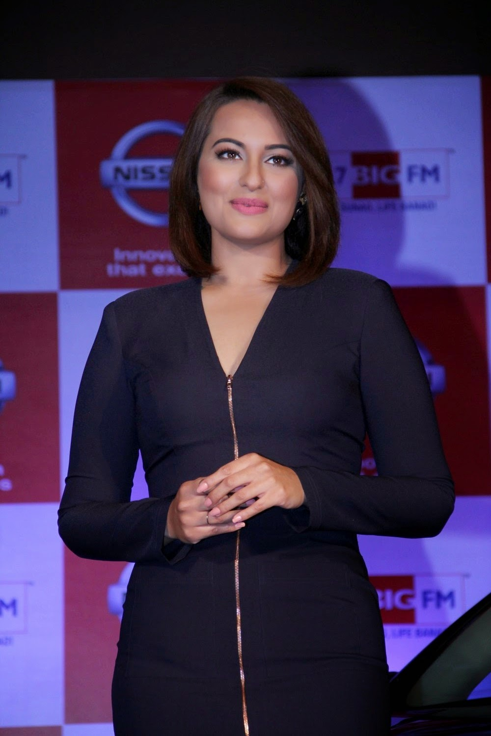 Indian Glamorous Chubby Actress Sonakshi Sinha Stills In Long Black Dress