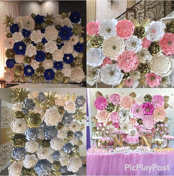 Lindas decoraciones con paneles de flores de papel para tu fiesta - Decoracion con paneles ...