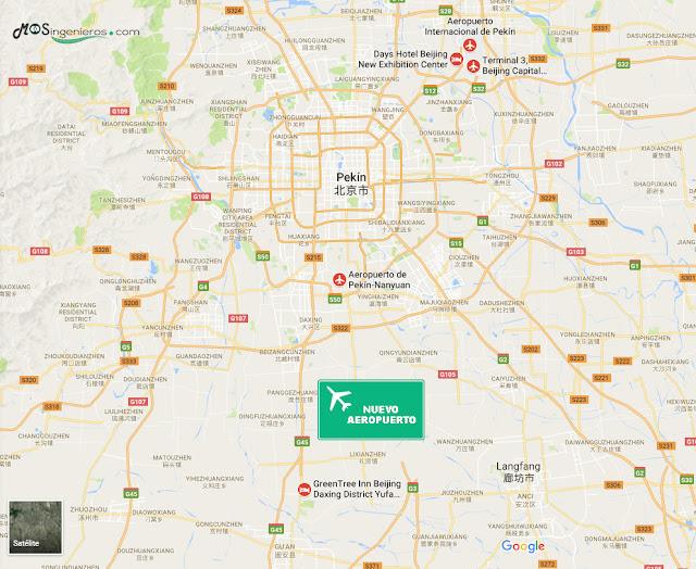 UBICACION MAPA nuevo aeropuerto internacional de Pekín