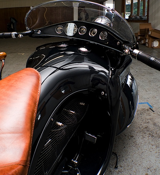 Courtney's streamlined Henderson KJ motorcycle