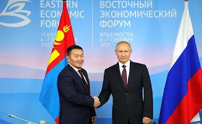 Vladimir Putin met with President of Mongolia Khaltmaagiin Battulga on the sidelines of the Eastern Economic Forum.