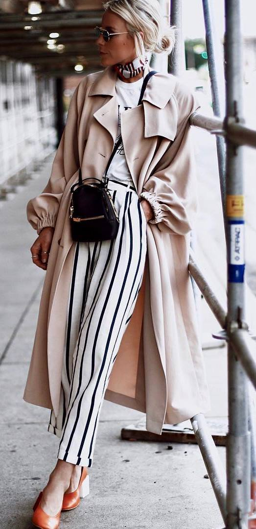 fashionable outfit / nude coat + heels + bag + t-shirt + stripped pants