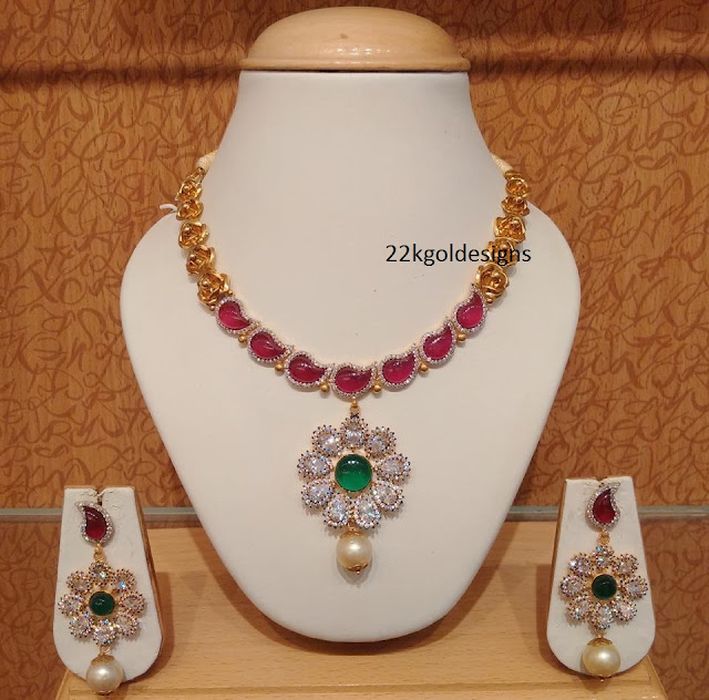 Designer Czs Rubies Gold Necklace