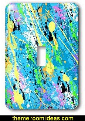 Blue Paint Splatter Design Light Switch Cover