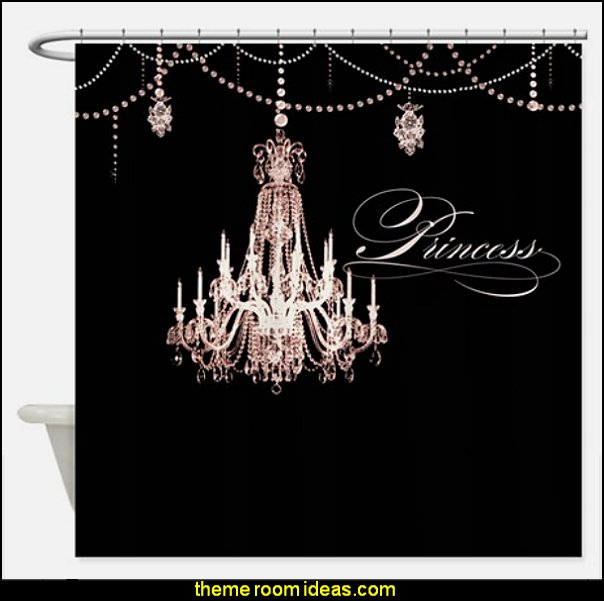 Princess Chandelier Girly Jewel Pearl Design Shower curtain