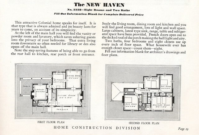 catalog floor plan image of Sears New Haven model 1931-32