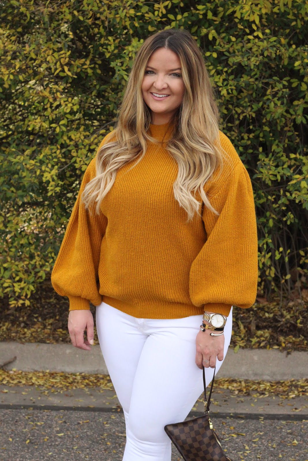Yellow Knit Sweater by popular Denver fashion blogger Delayna Denaye