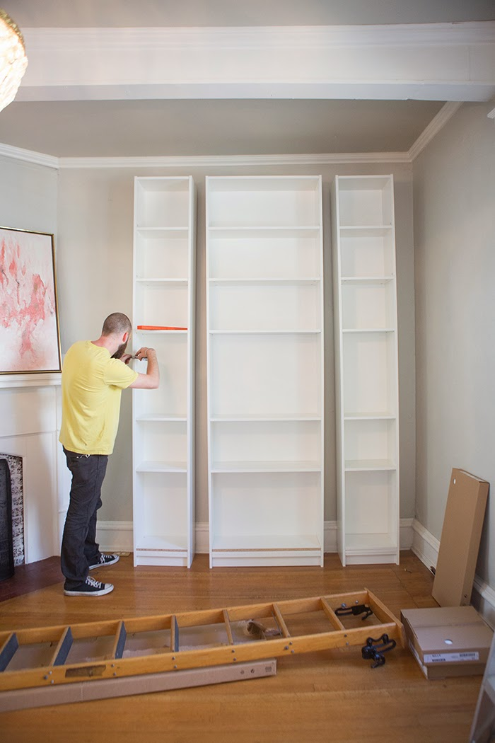 Living Room With Bookshelf: The Makerista: Laura's Living Room: Ikea Billy Bookshelves
