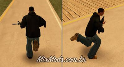 gta sa mod correr com armas pesadas m4 ak47 anim animação to sa