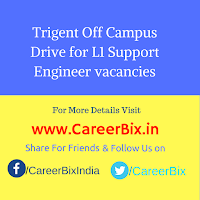 Trigent Off Campus Drive for L1 Support Engineer vacancies