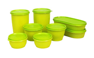 Amazon- Buy Princeware Modular Plastic Container Set, 8-Pieces, Green at Rs 409