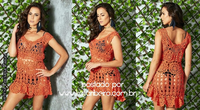 981376351501 SAÍDA DE PRAIA EM CROCHÊ LARANJA - Katia Ribeiro Crochê Moda e Decoração