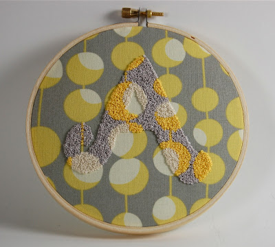 image monogram fabric french knots yellow grey white retro fourteen countess