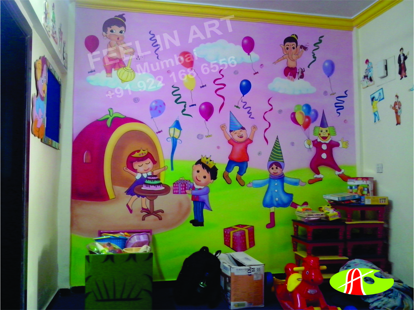 children 39 s bedrooms and pre school classroom cartoon theme wall painting in mumbai. Black Bedroom Furniture Sets. Home Design Ideas