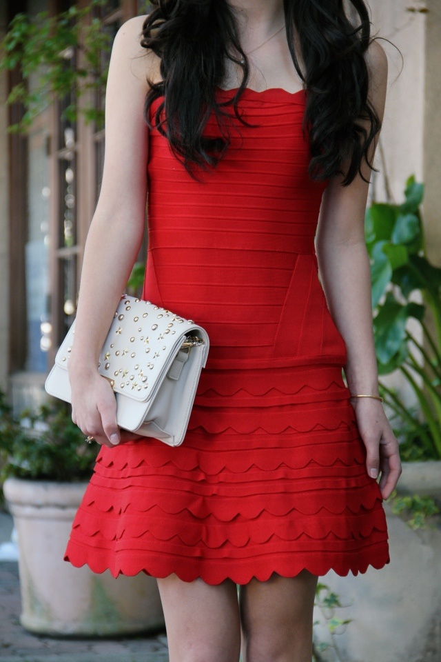 herve leger phoebe scalloped red strapless dress valentine's day outfit