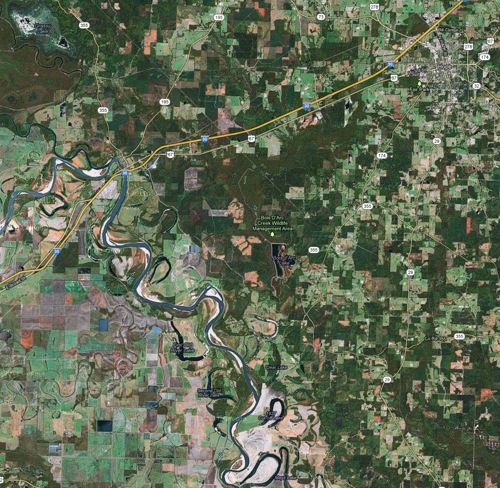 The Red River southwest of Hope, Arkansas.