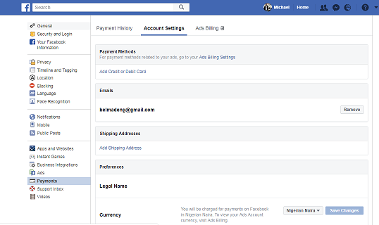 How do you Add or Remove a Payment Method from your Account On Facebook?