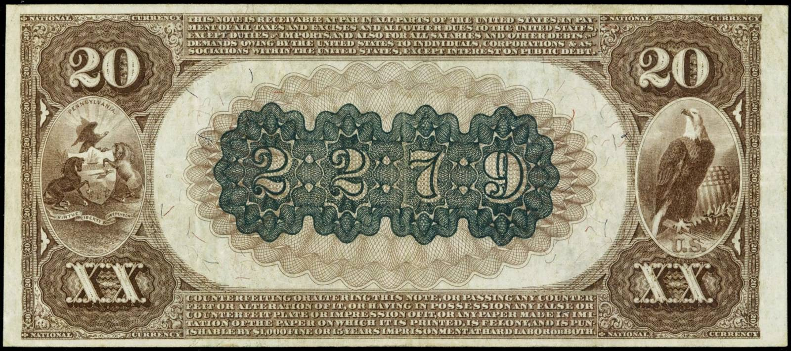 1882 Twenty Dollar National Currency Bank Notes Brown Back