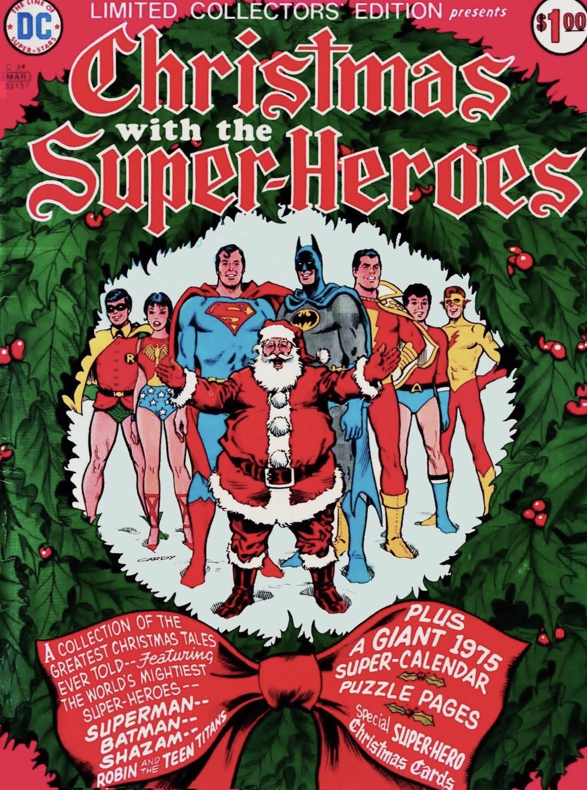 Santa Claus with Superman, Batman, Shazam / Captain Marvel, and Teen Titans, above text promoting stories and other contents including a Giant 1975 Super-Calendar