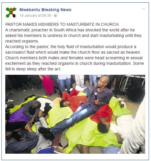 HUH? PASTOR MAKES MEMBERS MASTURBATE IN CHURCH?