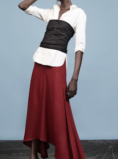2017 Cruise Collection Hellessy black bustier over a white button-down shirt with a red maxi skirt