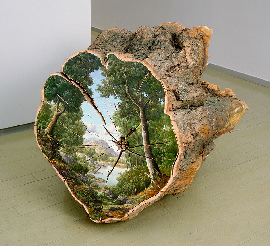 18-Trophy-Alison-Moritsugu-Landscape-Painting-on-Tree-Logs-www-designstack-co